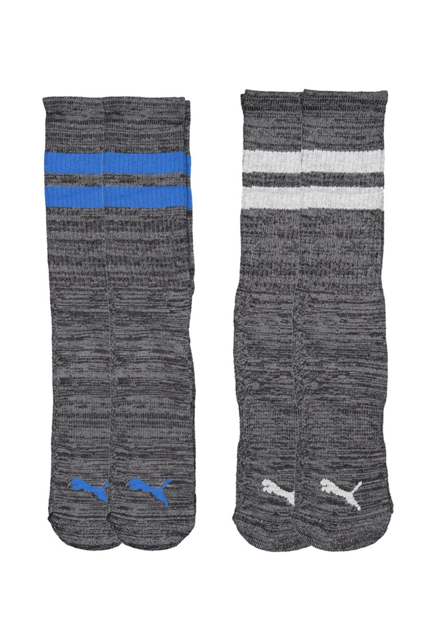 Men's 4 Pairs Crew Socks, Charcoal/Black/Blue