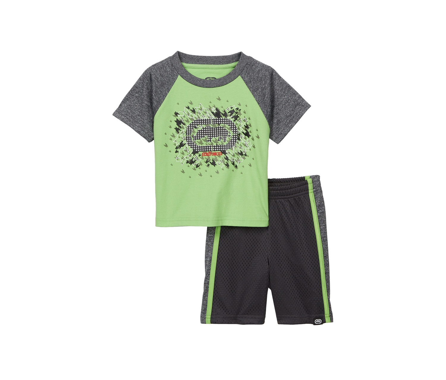 Toddlers Boy's Rhino Tee & Shorts 2-Piece Set, Charcoal/Lime
