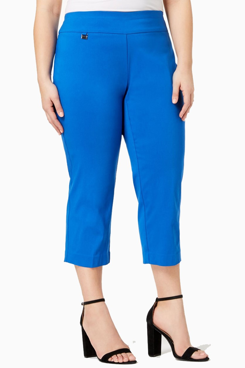 Plus Size Pull-On Capri Pants, Stormy Sea Blue