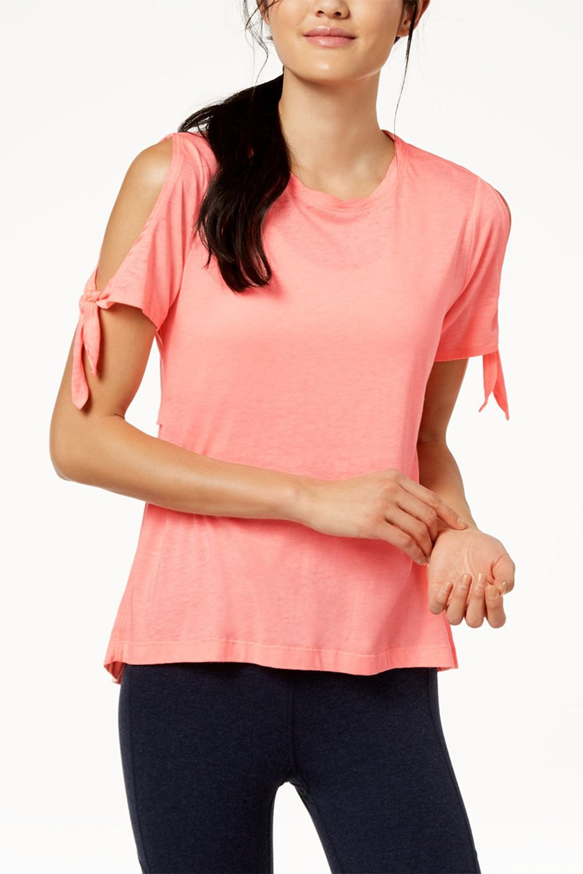 Performance Cold Shoulder Vented Pullover Top, Orange Sky