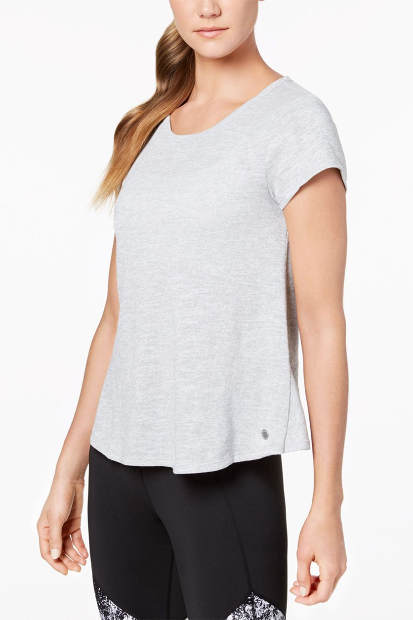 Overlapping-Back T-Shirt, Pearl Grey Heather