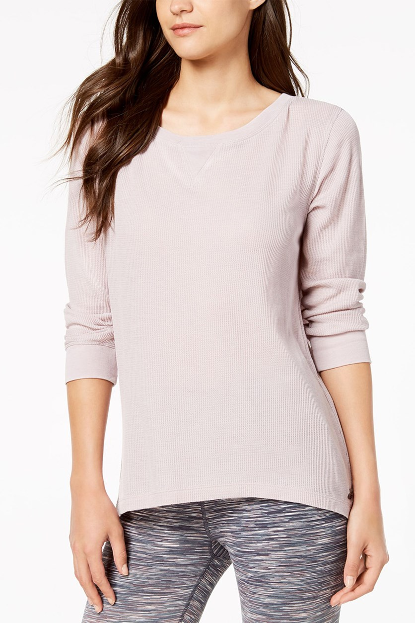 Three Quater Sleeve Lace-Up Back Top, Lavender