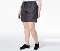 Calvin Klein Performance Plus Size Ribbed-Waistband Convertible Shorts, Charcoal