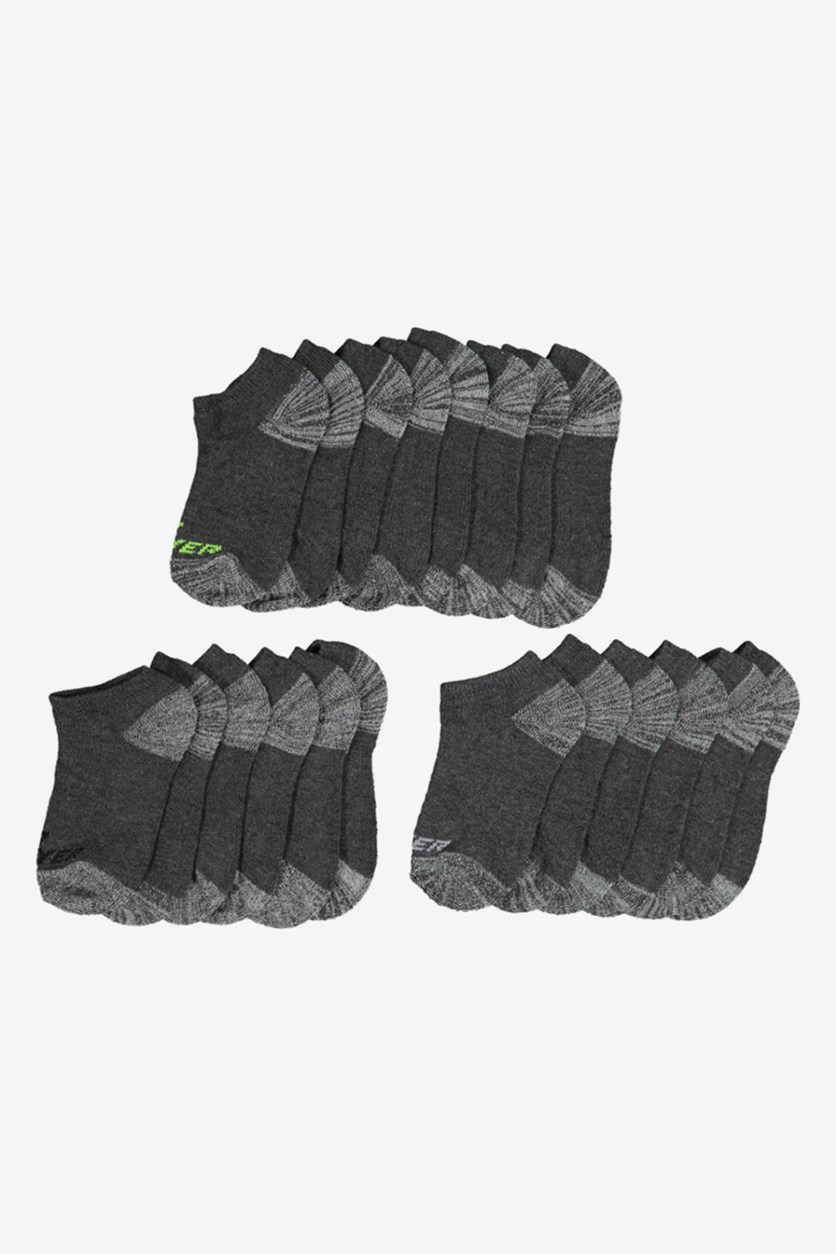 10-Pack Boys No Show Socks, Charcoal