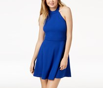 Crystal Doll Juniors' Open-Back Fit & Flare Dress, Royal Blue