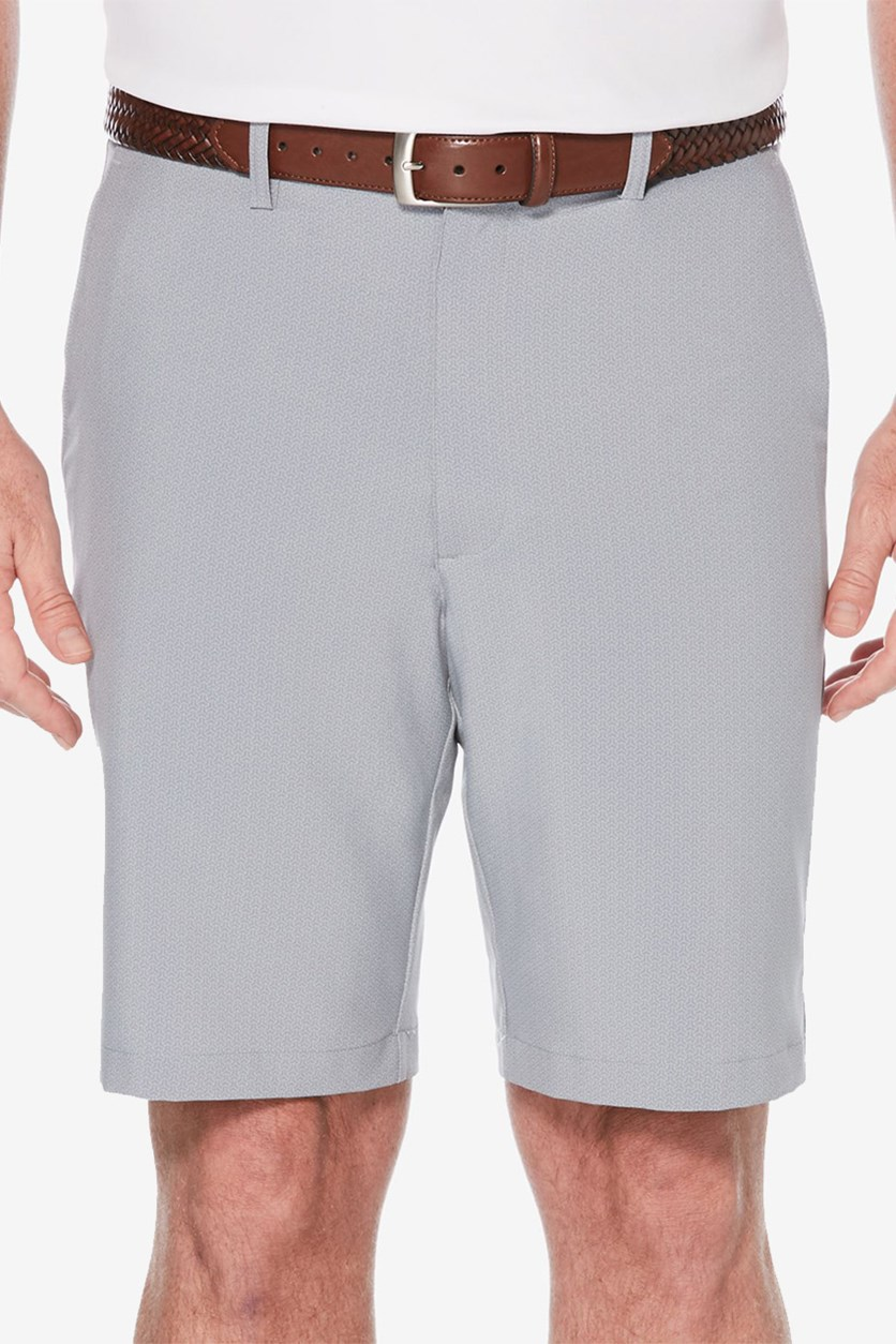 Men's Stretch Mini Geo-Print Flat-Front Golf Shorts, Sleet