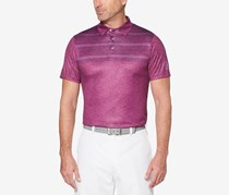 Mens Space-Dyed Stripe Polo, Magenta Purple Heather