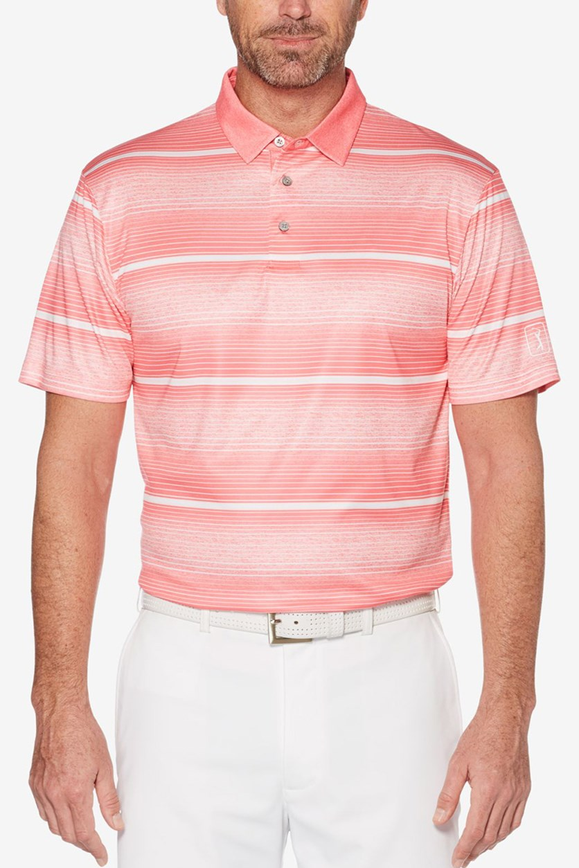 Men's Polo Heathered Stripe, Calypso Coral