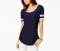 Ultra Flirt Juniors' Rugby-Stripe High-Low Tunic, Navy
