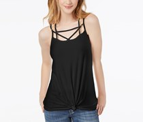 Women Juniors Strappy Twist-Front Top, Black