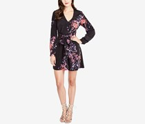 Rachel Roy Printed Tie-Wrap Dress, Black Combo