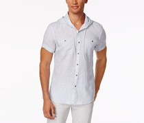 Kenneth Cole Reaction Men's Hooded Woven Shirt, Blue