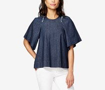 Rachel Roy Denim Ruffle-Trim Top, Dark Wash