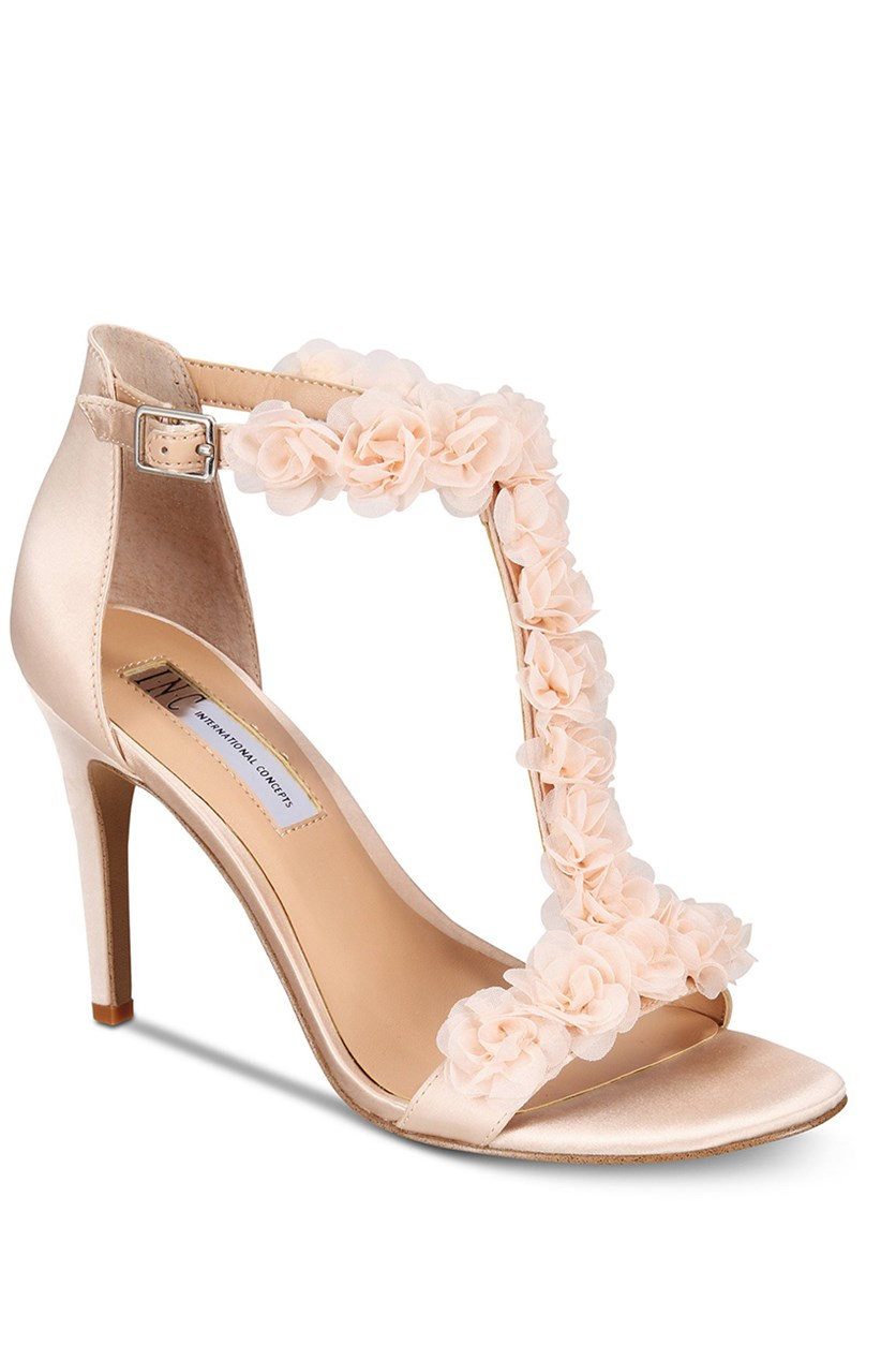I.N.C. Women's Rosiee T-Strap Embellished Evening Sandals, Beige