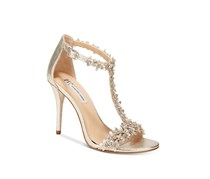 I.N.C. Rosiee T-Strap Embellished Evening Sandals, Pearl Gold