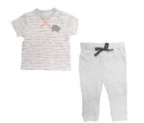 Bon Bebe Baby Boys 2pc Set, White/Orange/Grey
