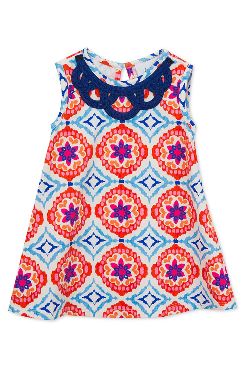 Geo-Print A-Line Dress, Orange Royal