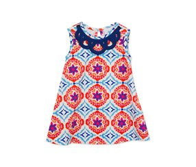 Rare Editions Geo-Print A-Line Dress, Orange Royal