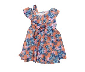 Rare Editions Baby Girls Floral Dress, Peach Combo