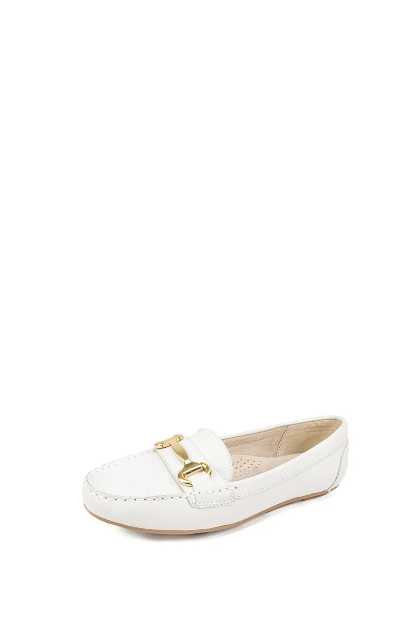 Women's Moccasin Flat Shoes, White