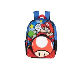 Kids Boys Mario Bros. Backpack, Blue/Red Combo