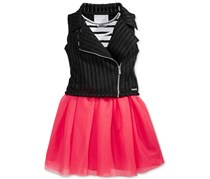 Sean John Girl's 2-Pc. Tank Dress & Vest Set, Pink/Black