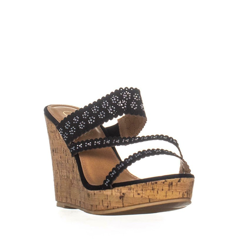 Women Sofiya Platform Wedge Sandals, Black