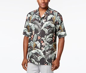 Tommy Bahama Men's Foliage Print Shirt, Black