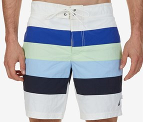 Nautica Men's Quick-Dry Striped Swim Trunks, Marshmallow