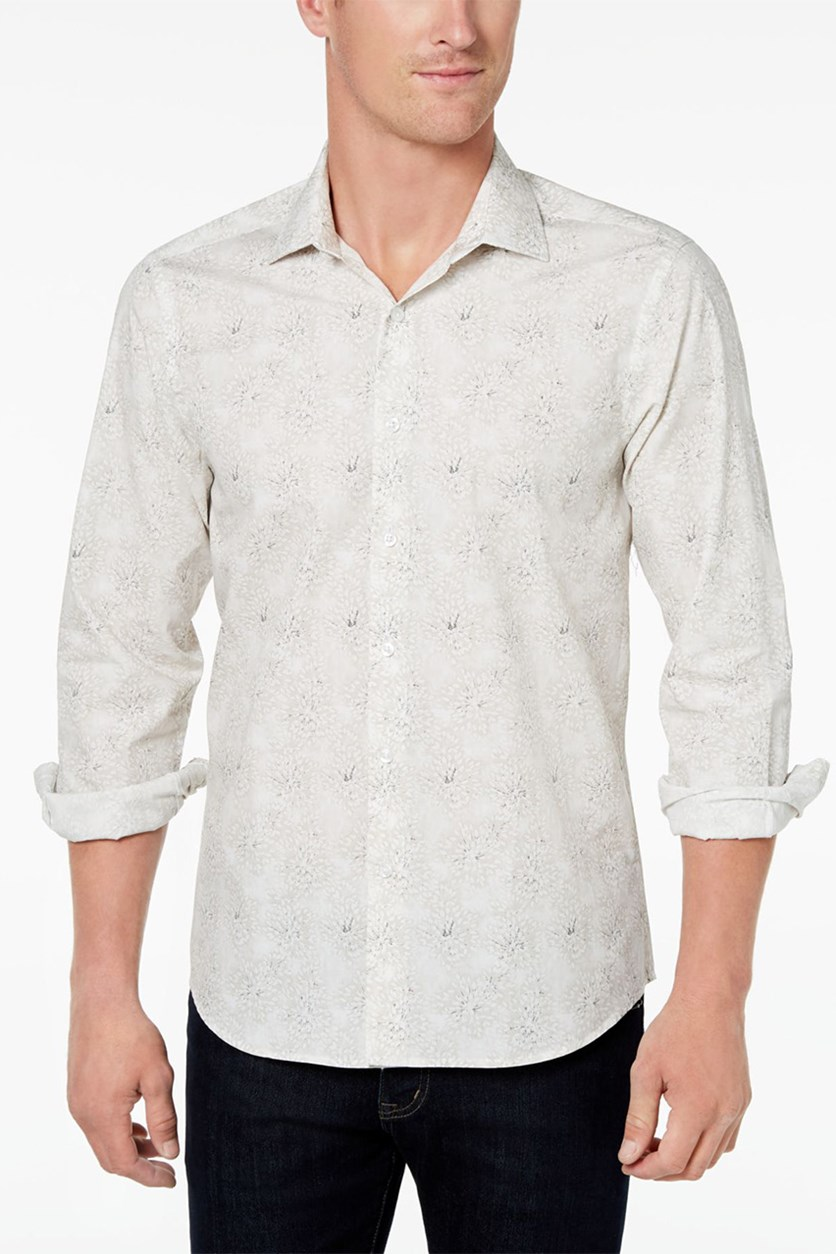 Men's Slim-Fit Gray Floral-Print Shirt, Stone Comco