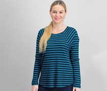 Tart Women's Stripe Top, Black/Teal