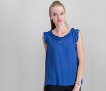 Collective Concepts Women's Flutter Sleeve Top, Blue