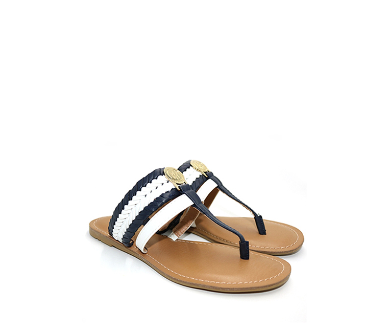 Tommy Hilfiger Lady Flat Thong Sandals, Navy/White