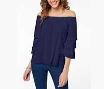 Crave Fame by Almost Famous Juniors' Off-The-Shoulder Tiered Top, Navy