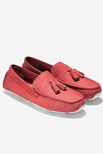 Cole Haan Women's Rodeo Tassel Driver Flats, Light Pastel Red