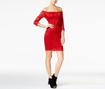 GUESS Celina Off-The-Shoulder Lace Dress, Red