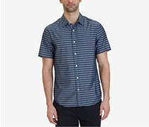 Nautica Men's Classic-Fit Striped Short-Sleeve Shirt, Navy