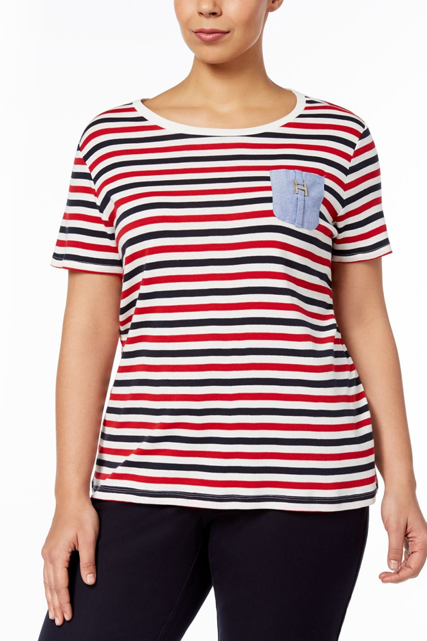 d2dc2794 Shop Tommy Hilfiger Tommy Hilfiger Plus Size Chambray-Pocket Striped ...