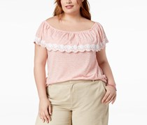 Tommy Hilfiger Plus Size Off-The-Shoulder Striped Top, Ivory/Coralie