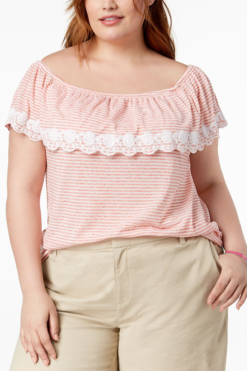 Plus Size Off-The-Shoulder Striped Top, Ivory/Coralie