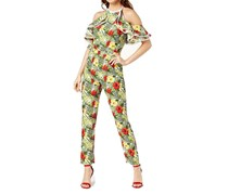 Xoxo Juniors' Printed Cold-Shoulder Halter Jumpsuit, Tropical