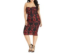 City Chic Trendy Plus Size Embroidered Dress, Black/Red