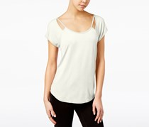 Almost Famous Juniors' Strappy Cutout T-Shirt, White