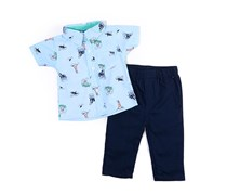 Bon Bebe Boy's Lighthouse Shark Playwear Set Of 2, Blue/Navy