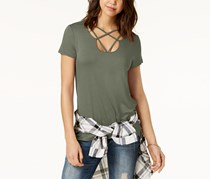 Hippie Rose Women's Strap-Detailed T-Shirt, Olive