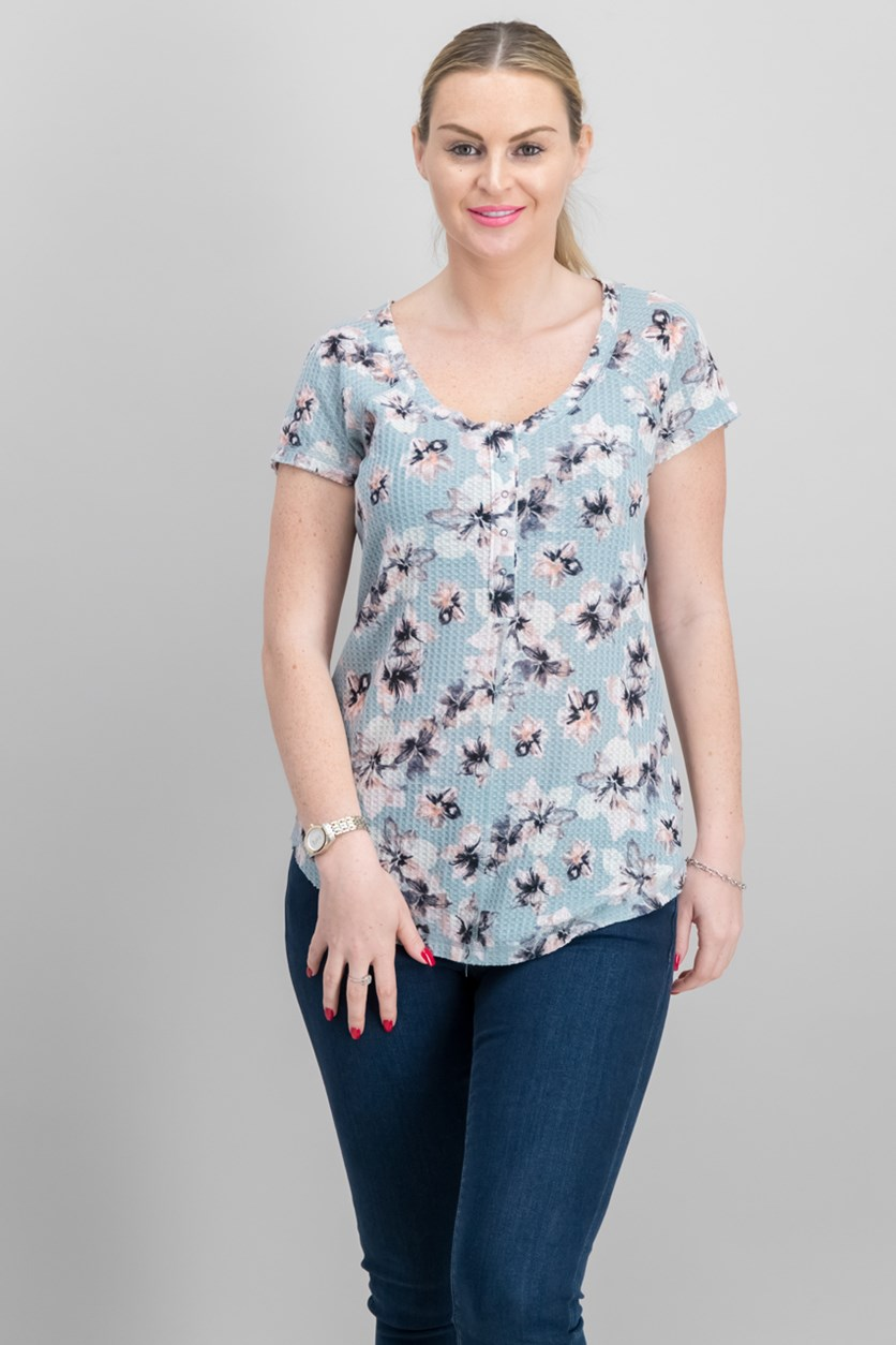 Floral Print Henley Top, Tradewinds Peony
