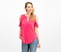 Jessica Simpson Pearlina Cold-Shoulder Top, Red/Dark Pink
