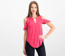 Jessica Simpson Ruffled Cold-Shoulder Top, Barberry