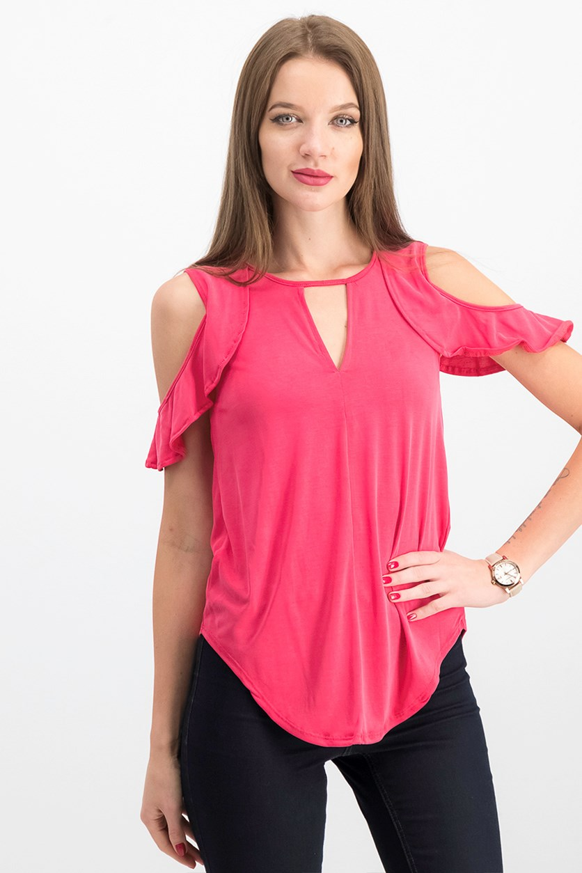 Ruffled Cold-Shoulder Top, Barberry