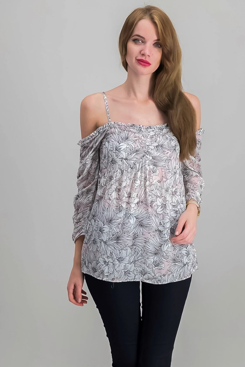 Printed Off-The-Shoulder Top, Pink/Ivory